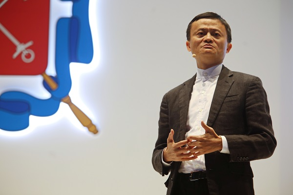 "Chinese Internet giant Alibaba's chairman Jack Ma gives a speech ""Building a new Silk Road for the digital economy"" during the 20th St. Petersburg International Economic Forum in St. Petersburg, Russia, on June 17, 2016 [Xinhua]"