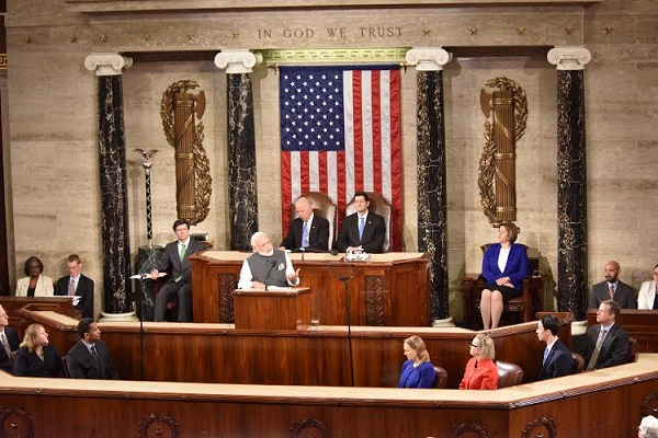 Indian Prime Minister Narendra Modi addresses a joint session of the US Congress in Washington on 8 June 2016 [Image: Press Information Bureau India]