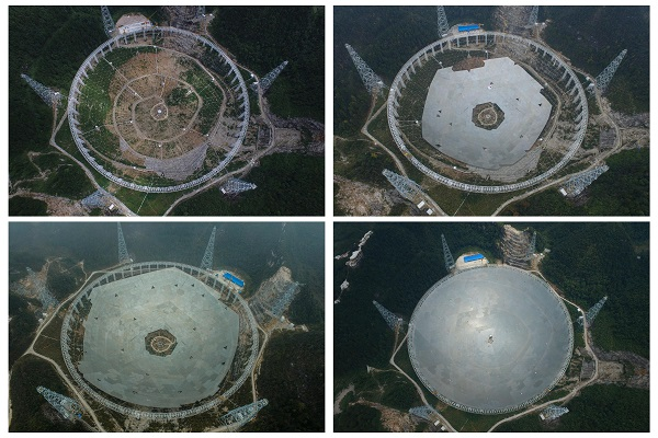 """Photos taken on Aug. 2, 2015 (L, up), Dec. 16, 2015 (R, up), March 9, 2016 (L, bottom) and June 29, 2016 (R, bottom) show different assembling stages of the reflector of the Five-hundred-meter Aperture Spherical Telescope, or """"FAST,"""" in Pingtang County, southwest China's Guizhou Province [Xinhua]"""