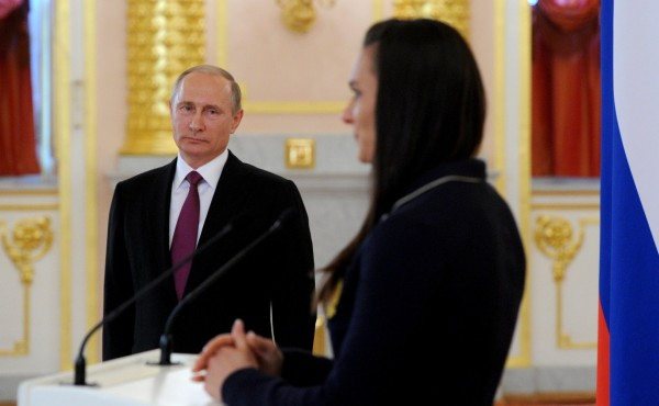 Putin spoke with two-time Olympic pole-vaulting champion Yelena Isinbayeva, the most high-profile of the 67 track and field athletes banned from the games, standing beside him at the Kremlin, Moscow on 27 July 2016 [Image: PPIO]