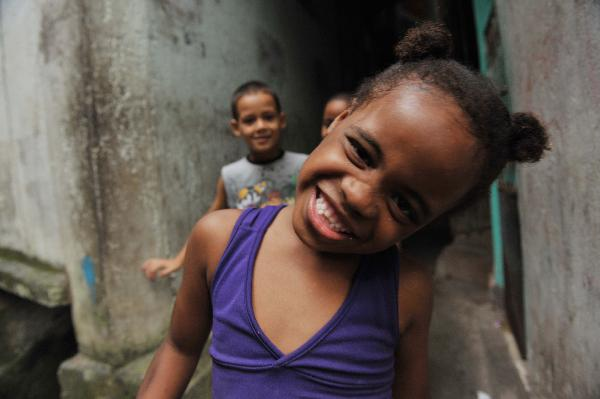Children play games in a favela in Santa Marta in Rio De Janeiro of Brazil, May 26, 2010