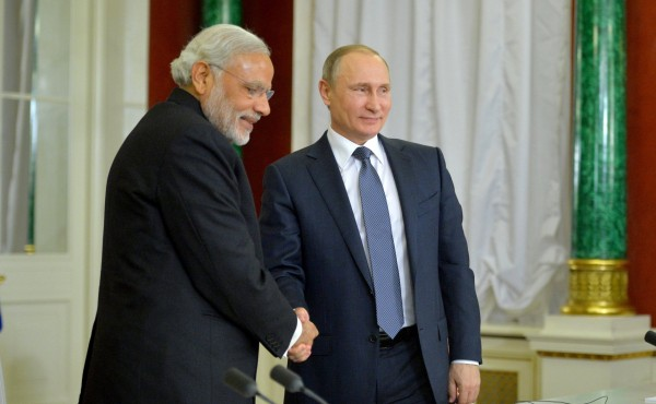 File photo of Russian President Vladimir Putin and Indian Prime Minister Narendra Modi [Image: PPIO]
