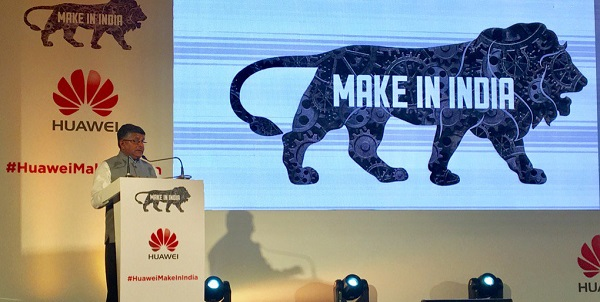 Indian Minister of Information and Technology speaks at the launch of the Huawei manufacturing unit in New Delhi on 23 September 2016 [Image: Twitter @rsprasad]