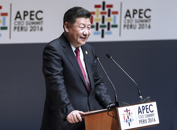 Chinese President Xi Jinping delivers a keynote speech at the Asia-Pacific Economic Cooperation (APEC) CEO Summit in Lima, Peru, Nov. 19, 2016 [Xinhua]