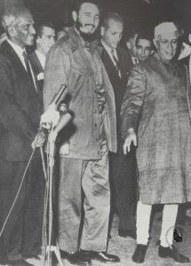 Fidel Castro (centre) seen here with former Indian Prime Minister Jawaharlal Nehru [Image: Nehru Memorial]