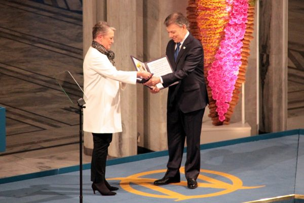 Colombia president to collect Nobel without rebels in tow