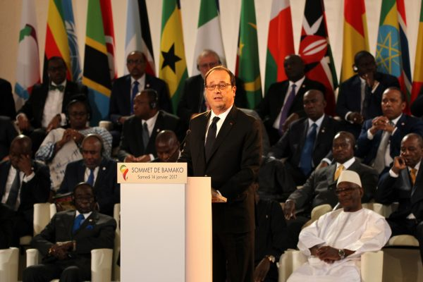French President Francois Hollande speaks during the opening ceremony of the 27th Africa-France Summit in Bamako, Mali on January 14, 2017 [Xinhua]